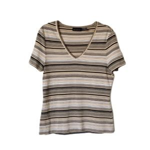 THE LIMITED | Striped V-Neck Top